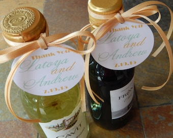"Thank You Custom 2"" Mini Wine Bottle Favor Tags - For Wedding - Rehearsal Dinner - Birthday - Anniversary - Engagement Party - (50) Tags"