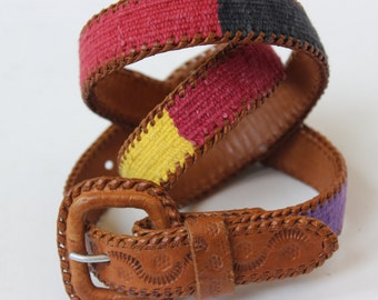 Guatemalan Leather Belt with Cotton Tapestry Hippie Tooled Leather