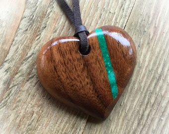 Walnut and Gemstone Wooden Pendant, 5th Wedding Anniversary, Wooden Jewellery, Wooden Gifts,