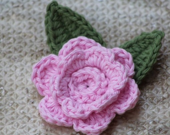 Crochet flowers, Spring flowers, Crocheted flowers, Craft supplies, Fake flowers, Flower applique, Flower embellishment, Spring decor, Pink