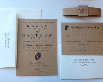 Pinecone Wedding Invitation Suite -  Romantic and Elegant - Printed on Kraft Paper