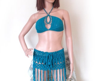 Crochet Fringe Bikini Top and Skirt Set , Turquoise Festival Outfit Beach Cover Up
