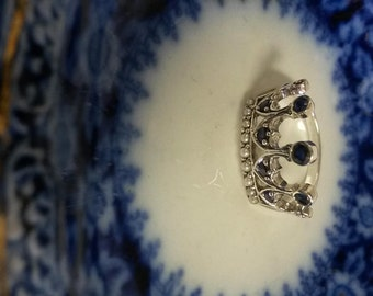 Size 6.75 Sterling Silver 925 Created .25ct Sapphire Seed Pearls Ring Victorian Antique Style Crown Princess