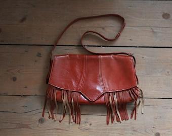 Fringe Tan leather Shoulder Bag 1970s