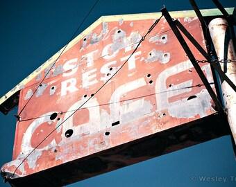 Stop Rest Cafe - Roadside Diner Sign Photograph