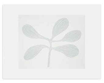 silkscreen print, soft grey, screenprint, original handmade art, leaves, small modern wall art by Emma Lawrenson.
