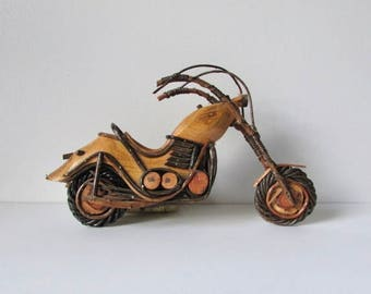 vintage wood motorcycle