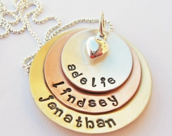 Mothers necklace - Personalized mom necklace - Mixed Metal layered necklace - Custom mommy necklace