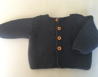 Hand knitted baby boy/ girl Cardigan long sleeves -Denim Blue Colour - 100% Merino wool- New item- STYLE#5