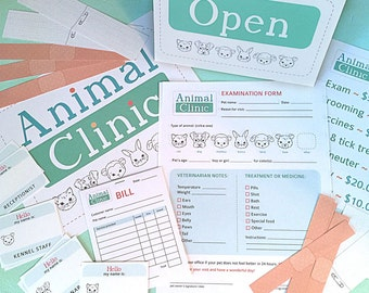 Pretend Play ANIMAL CLINIC Printables- Instant PDF Download- examination forms, bandages, signs, name tags, vet