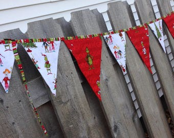 GRINCH CHRISTMAS BANNER Bunting Garland Flags--Fabric How the Grinch Stole Christmas Banner-Party Decoration--Whoville--Red Green White