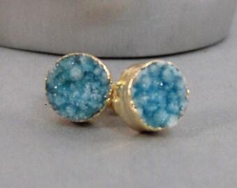 Aqua Blue Studs,Earrings,Gold Earrings,Aqua Earrings,Aqua Stud,Aqua Druzy,Aqua Druzie,Aqua STone,Aqua Geode,Gold and Aqua,Post Earring.
