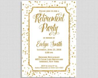 """Gold Retirement Party Invitation, White and Gold Glitter Confetti Invite, Retirement Celebration, 5x7"""", DIY PRINTABLE"""