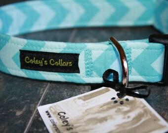 "Dog Collar, Dog Collars, Girl Dog Collar, Boy Dog Collar, Male Dog Collar, Trendy Dog Collar, Chevron Dog Collar, ""The Chevron in Aqua"""