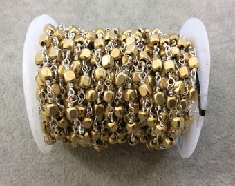 FULL SPOOL - Silver Plated Copper Wrapped Rosary Chain W 4mm Bright Gold Plated Copper 3D Cube Shape Beads (CH242-SV) - Bulk Jewelry Chain