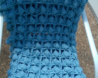 """Handmade Baby Blue Soft Large Shell Pattern Afghan L68"""", W60"""""""