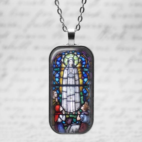 Our Lady of Fatima Stained Glass Art Pendant with 24 inch chain - Our Lady of Fatima Necklace, seers of Fatima, apparitions of Our Lady 1917