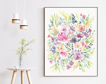 Bright Watercolor Floral Wall Art Print | 8x10 or 16x20 | Home Decor Wall Art | PRINTED & SHIPPED (not digital)