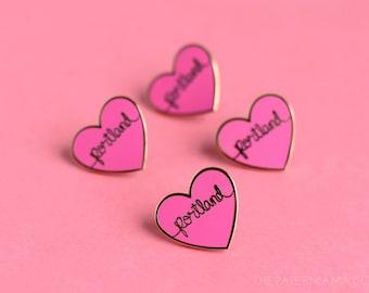 I Heart Portland - Heart Enamel Lapel Pin - Button