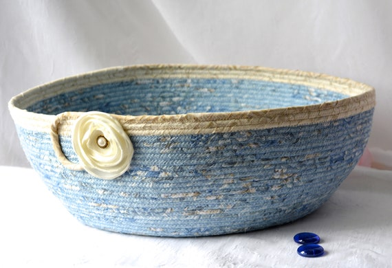 Coiled Quilted Basket, Cat Bed Furniture, Handmade Pet Bed, Book Bin Organizer, Modern Blue Dog Bed, Textile Art BAsket, Fabric Bowl