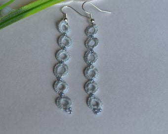 Tatted Lace Dangle Long Earrings with Beads in Dark Green / Pale Blue / Pale Pink - Isabella