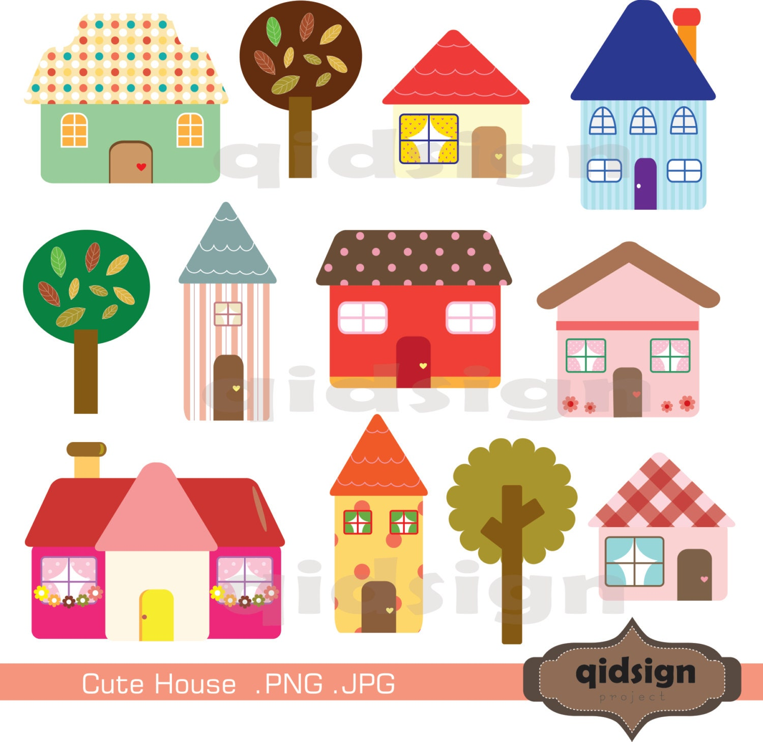 Cute House Clipart Personal and Commercial UseDigital clipart