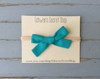 Teal baby bow, hand tied bow, baby girl headband, nylon headband, baby hair bow, school girl bow, infant headband, newborn headband