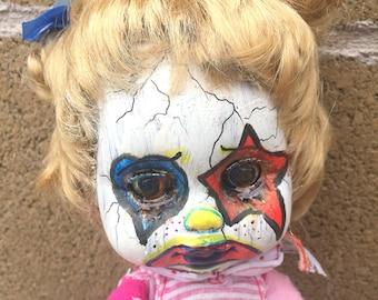 Sad Sara Clown Doll and Painted Pony - OOAK Creepy Cute Hand Painted Goth Clown Art Doll and Pony