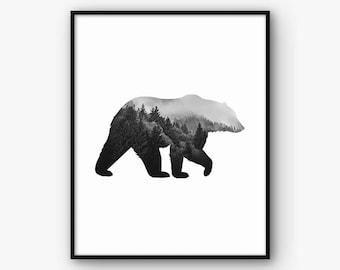 Black and White Minimalist Bear Print, Printable Abstract Animal Wall Art, Modern Scandinavian Nordric Home Decor, Digital Poster