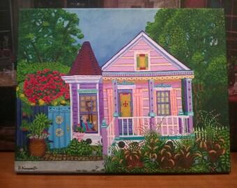 New Orleans Art / Vivid Bright Colors / Landscape Grandma's House / From Original Painting Maison de Memere / Certificate of Authenticity