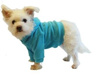 Turquoise Dog Hoodie-Microfleece Dog Hoodie-Dog Clothes-Dog Sweater-Dog Clothing-Dog Hoodies-Shirts for Dogs-Dog Shirt-Hoodies for Dogs