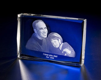 """Laser Engraved Photo Crystal Rectangle 5"""" X 3"""" x1"""" A021, Picture in Glass Laser Etching Gift by Goodcount"""