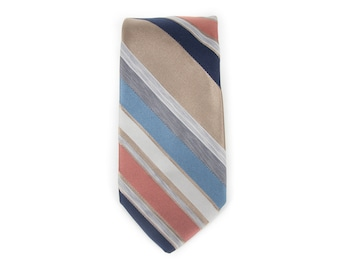 "Vintage Necktie / 3"" Neck Tie / Italian Made Striped Necktie / Polyester Skinny Necktie / Mens Neck Tie Mens Tie / Mens Neckties"