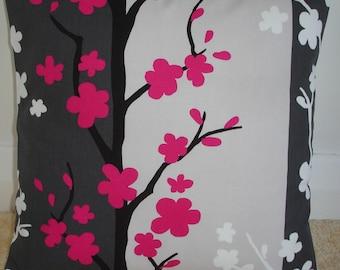 "16x16 Pillow Cover 16"" Fuschia Pink Charcoal Gray Black Cream and White Decorative Pillow Cushion Slip Sham Case Pillowcase Blomma Fuchsia"