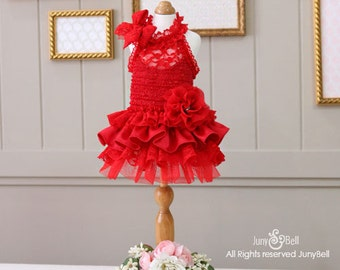 Valenti- Designer Handmade Red Dress/Valentine Day / Special Day / Party Dress for Pets / Free Shipping / Collectible Dress.