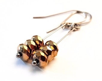 Metalikus Collection Faceted Stack Gold Hematite Stainless Steel Earrings
