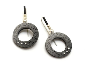 Textured Contemporary Hoop Earrings sterling silver and polymer clay grey gradient, silver beads light weight