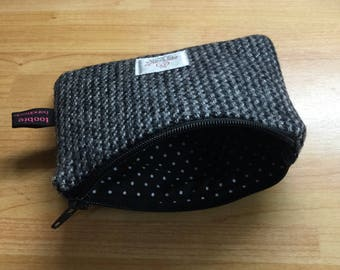 Black and white Harris Tweed coin purse, zipped coin pouch, change purse, friend gift, secret santa, stocking filler