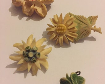 Antique 1920s Art Deco Hand Carved  Early Plastic Celluloid Flower Pins