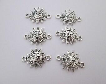 6 connecteur soleil visage 23 x 16 mm en métal argenté