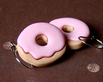 Miniature Pink Iced Doughnut Earrings - Fat Free Donut Danglies
