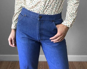 Vintage, Snap-Button, Mid-Rise, Denim, Blue, Straight-Leg, Jean, Pants