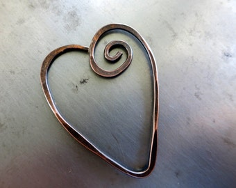 COPPER HEART PENDANT, Freeform Copper Wire Heart, Handmade Heart, Choice of finishes, Made to Order in 1 to 2 Wks