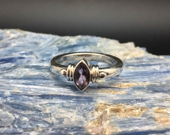Amethyst Ring // 925 Sterling Silver // Marquis Setting // Size 7