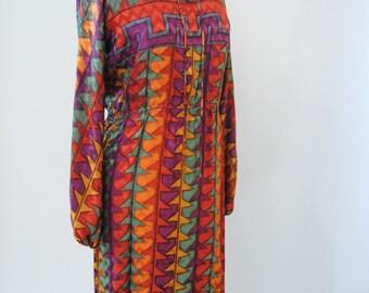 Vintage Silk Dress 70s Shirtwaist Geometric Silk Button Up Texture Silk Long Sleeve Dress S M