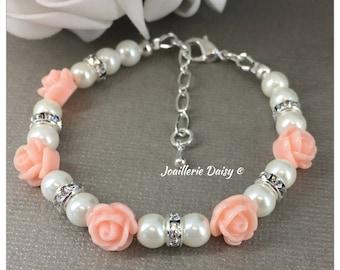 Flower Girl Bracelet Flower Girl Jewelry Flower Girl Gift for Her Blush Flower Bracelet Pearl Bracelet Pearl Jewelry Blush Wedding Jewelry