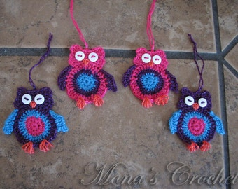 Hand Crocheted Owl Christmas Tree Ornament Set | Pink and Purple Christmas Ornaments | Holiday Ornaments | Christmas Decorations - Set of 4
