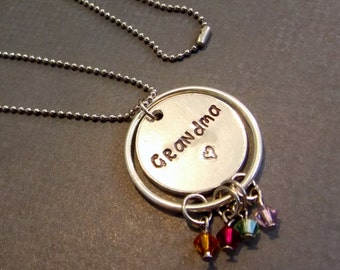 Grandma Necklace, Grandmothers Necklace, Birthstone Necklace, Family Necklace, Personalized Necklace, Gifts for Her, Custom Necklace
