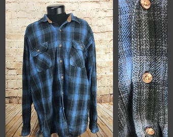 Mens Vintage Flannel - Grunge Flannel - Blue and Black Field and Stream Grunge plaid shirt menswear on sale