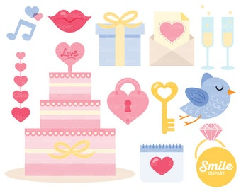 Pink and Blue Wedding Clipart Illustration for Commercial Use | 0073